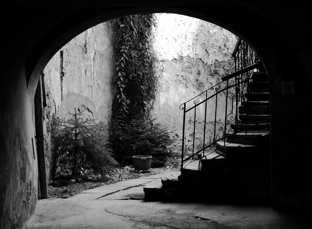 Photo in Black and White #transylvania #romania #street #photography #black #bnw #bw #stair #passage #arch #home