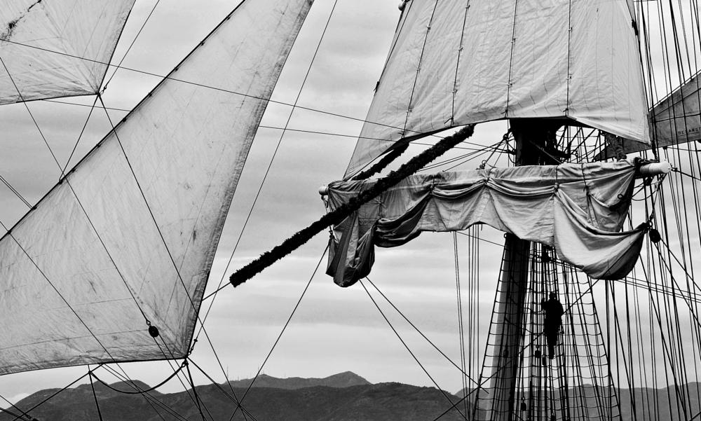 Photo in Black and White #boat #ship #sail #black #white #bw #alone #man #silloute