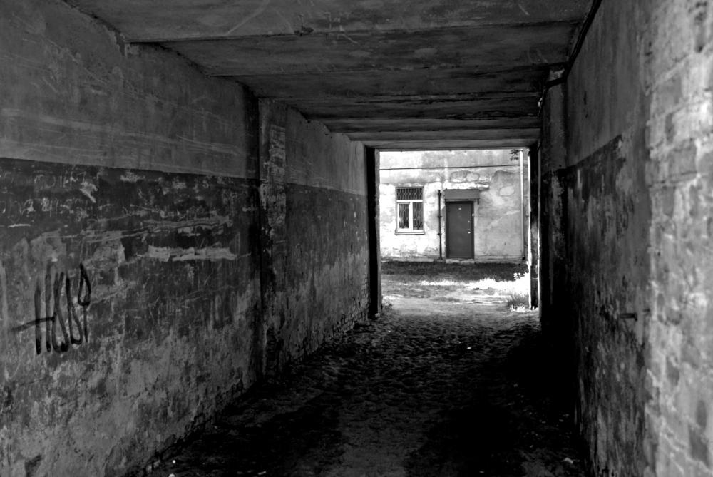 Photo in Black and White #home #door #riga #latvia #bw #black #white #street #dark #tunnel #crime #drugs