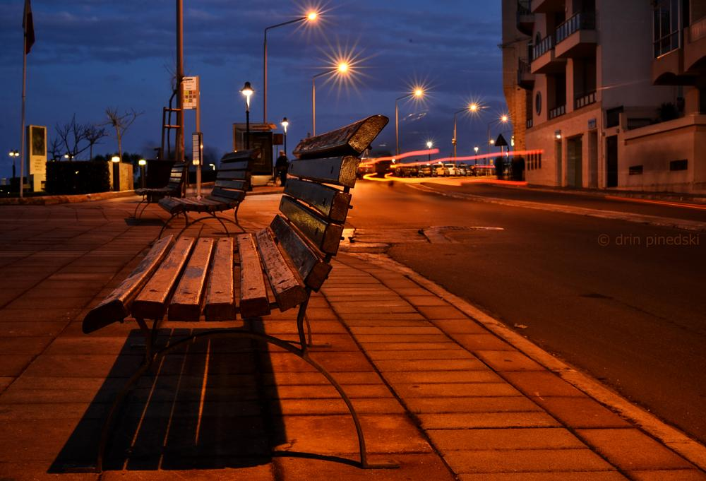Photo in Street Photography #bench #sunset #dawn #street #slow #lights #night #blue #brown #nikon #pinoy