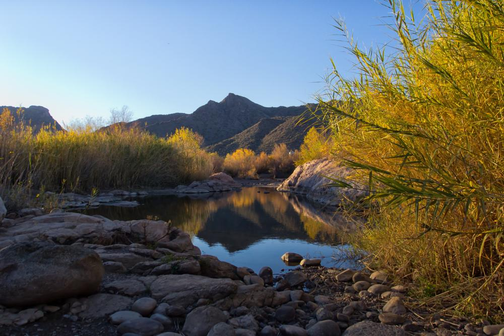 Photo in Landscape #landscape #salt river #arizona #desert #mesa #water #mountains #nature #hdr #hdri #sunset #reflection