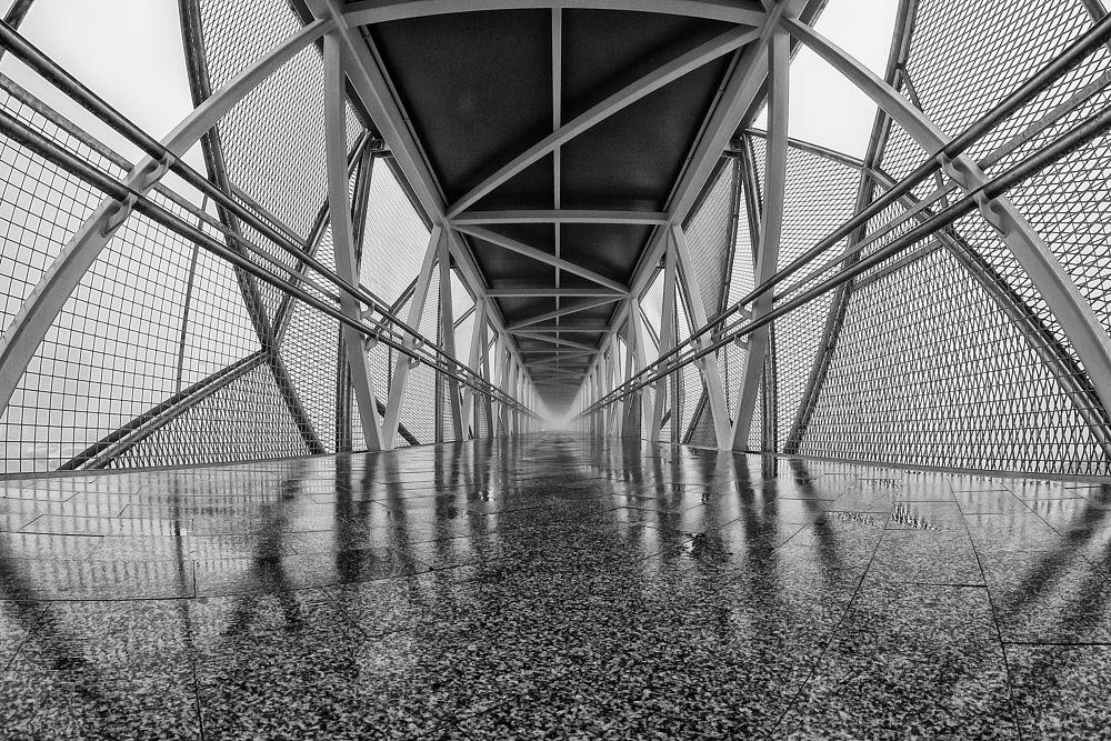 Photo in Street Photography #fog #niebla #pasarela #bridge #vigo #aeropuerto #canon #8mm #fish eye