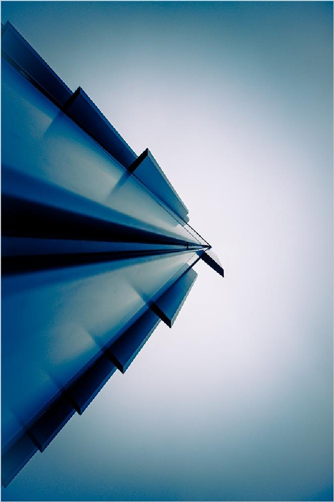 Photo in Architecture #roof #triangle #building #darmstadt #hessen #blue #monochrome