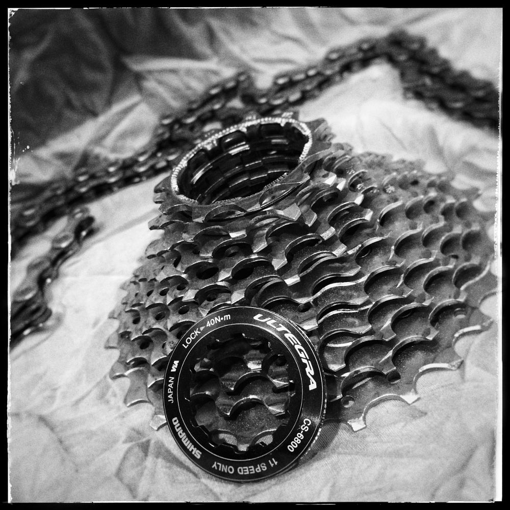 Photo in Black and White #cycle #cassette #ultegra #shimano #maintainance #gear #sprocket #black and white