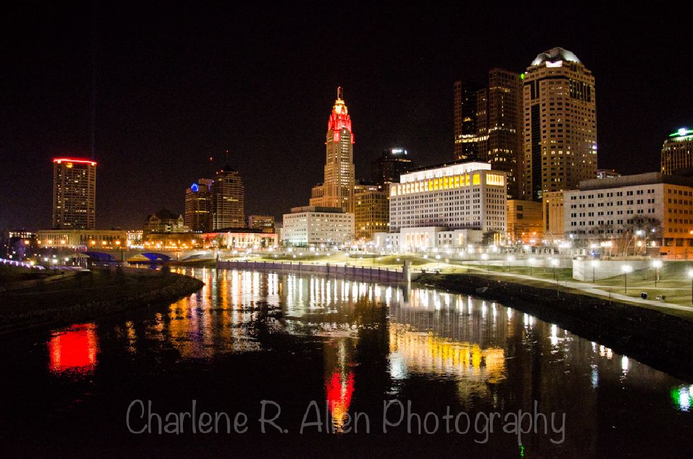 Photo in Cityscape #downtown #columbus #nighttime photography #skyline #cityscape