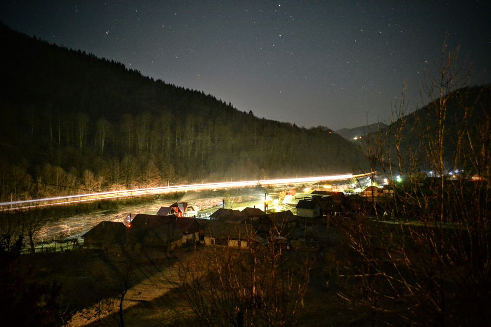 Photo in Cityscape #lights #night #mures #valley #mountains #hills #winter #cold #travel #train #holidays