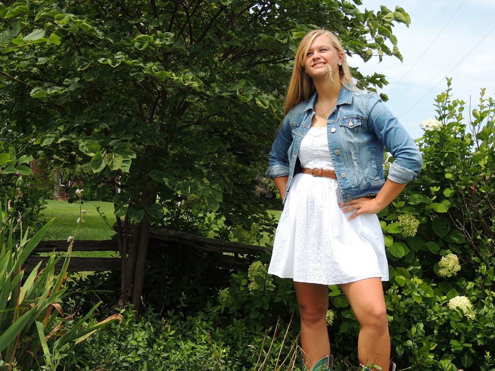 Photo in Random #beautiful #white dress #jean jacket #outdoors