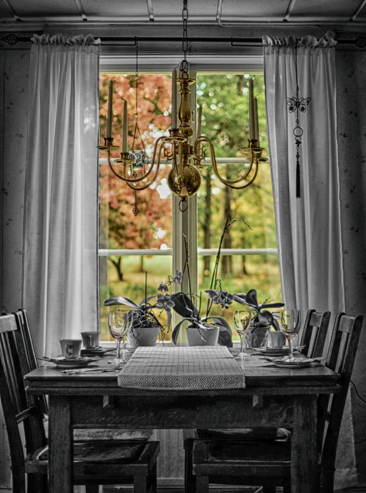 Photo in Random #window #b/w #color #chairs #table #flowers #sweden #fall #trees #autumn