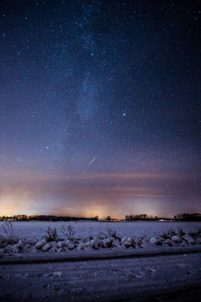 Photo in Astrophotography #milky way #stars #astro #snow #winter #sweden #evening