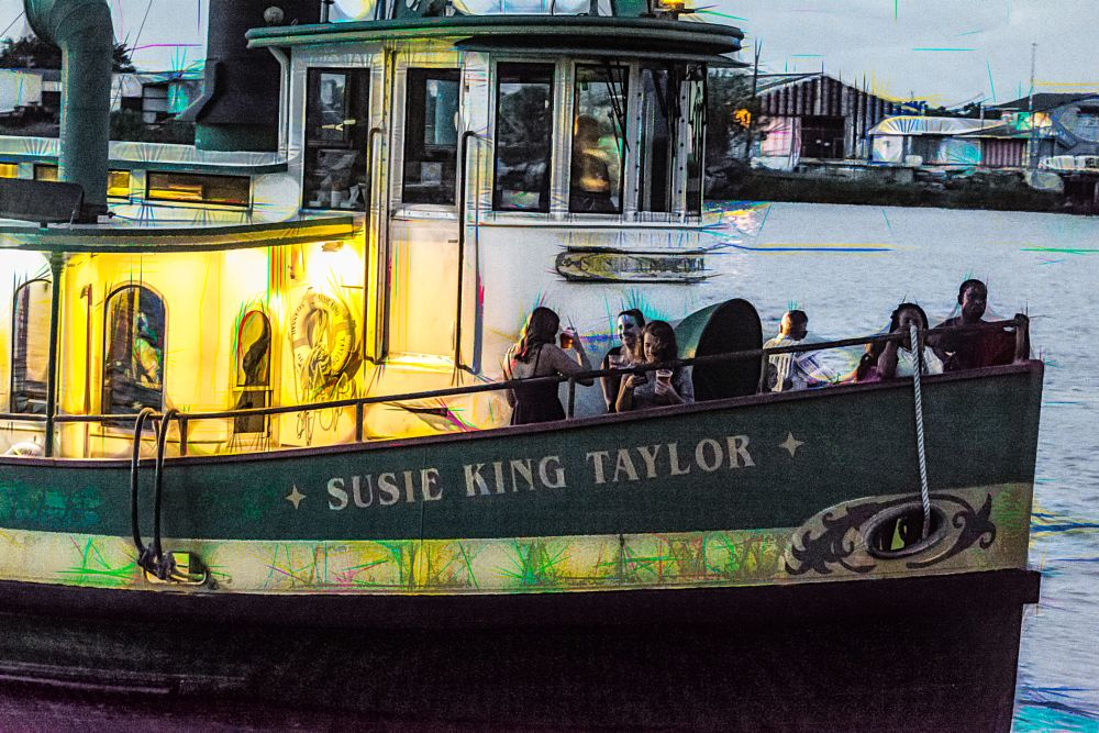 Photo in Fine Art #night #water #boat #people #cruise
