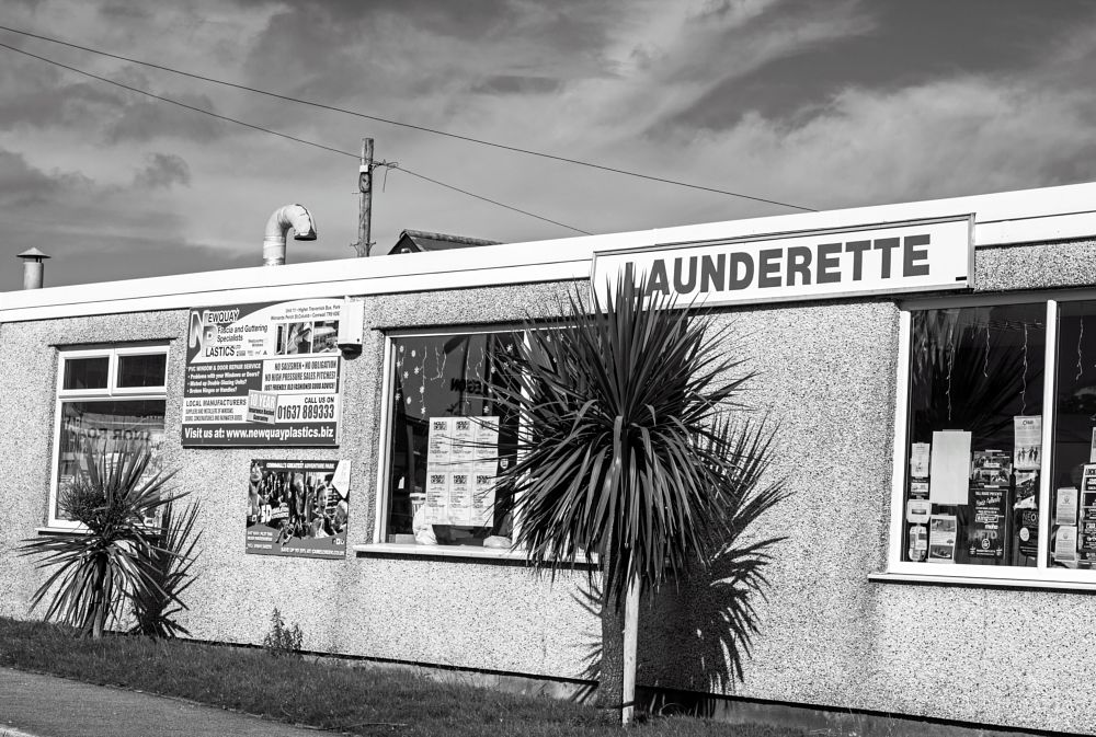 Photo in Black and White #launderette #washing #clothes #shop #clean