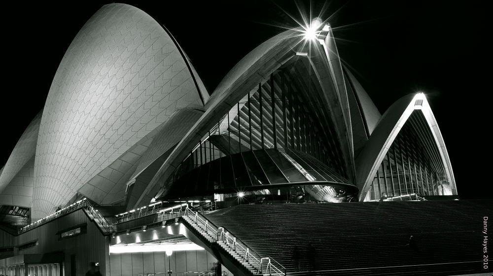 Photo in Black and White #black and white #danny hayes #sydney #nsw #opera house #night #landmark
