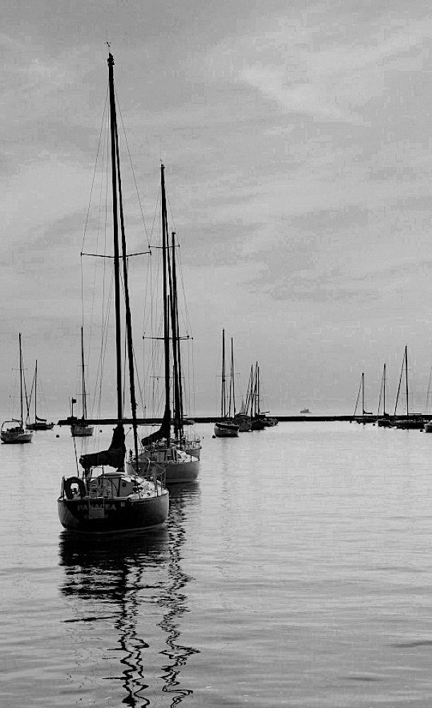 Photo in Random #water #black and white #lake michigan #chicago #boats