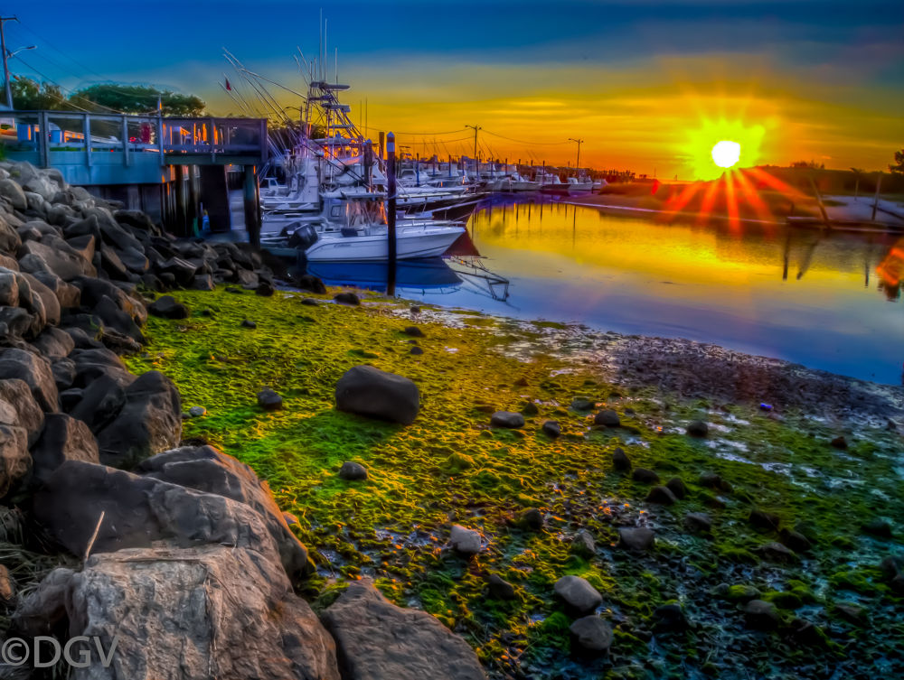 Photo in Travel #boatrs #rocks #seaweed #sunset #clouds #yellow #orleans massachusetts #cape cod #new england #ocean
