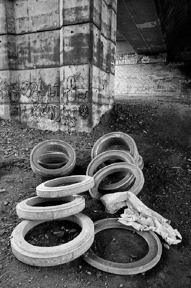 Photo in Black and White #bridge #black and white #circles