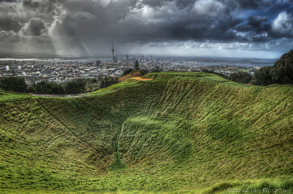 Photo in Random #auckland #volcano #crater #grass #clouds