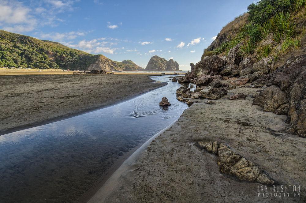 Photo in Random #beach #sea #sand #stream #rocks #piha #auckland #new zealand