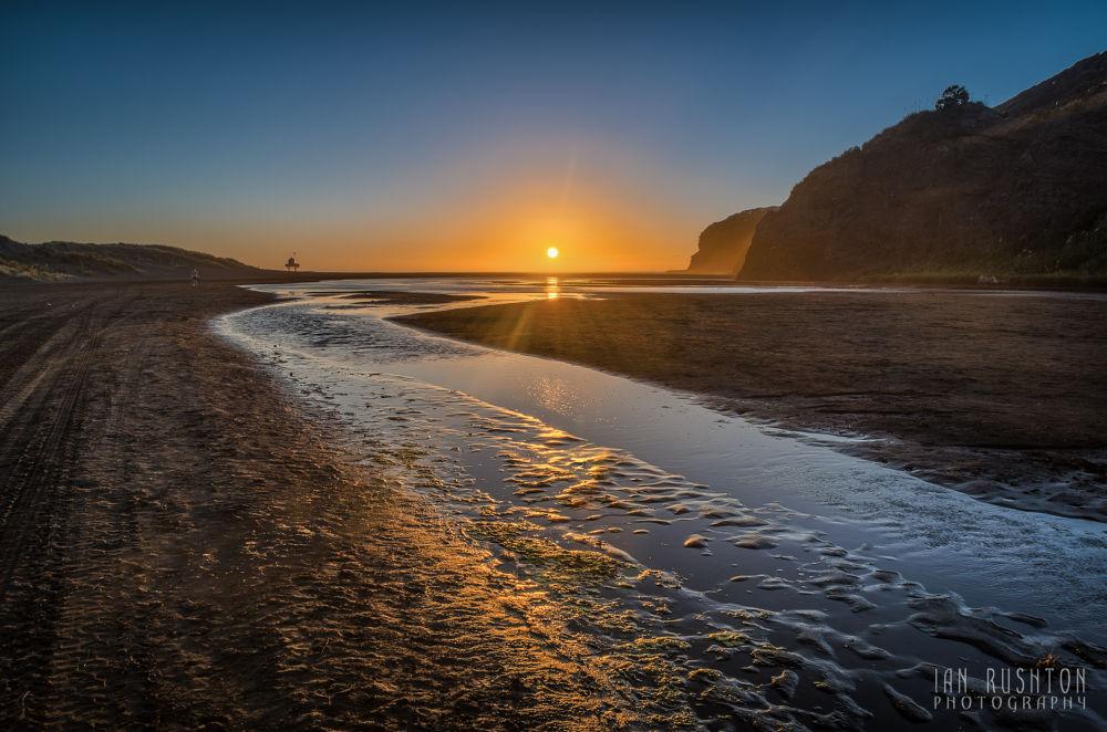 Photo in Random #sand #stream #beach #sunset #bethell's #te henga #auckland #new zealand