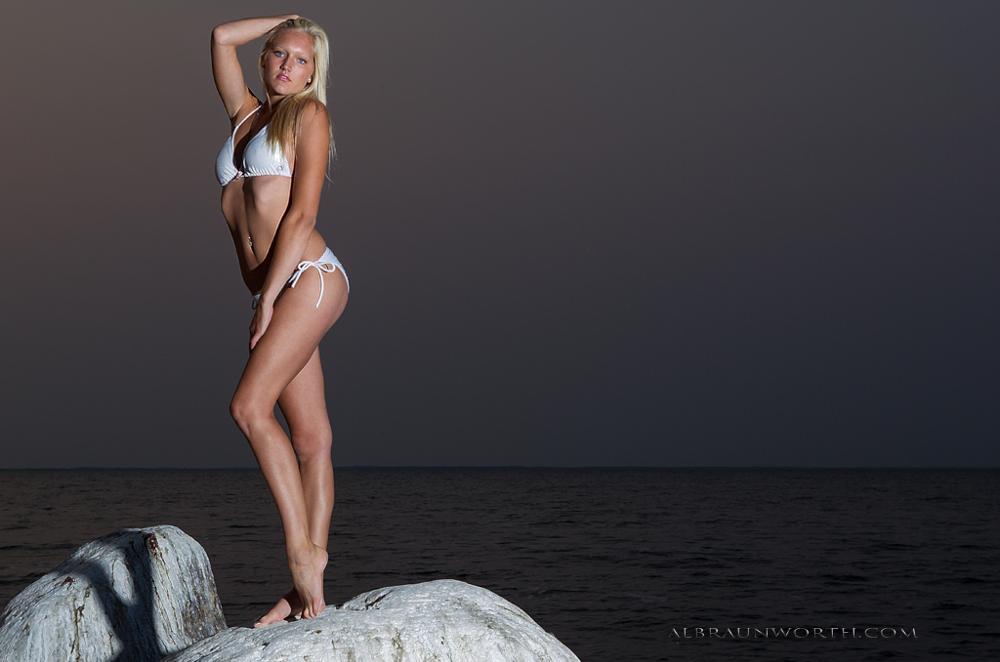 Photo in Fashion #blonde #model #lake #sunset #boulders #bikini
