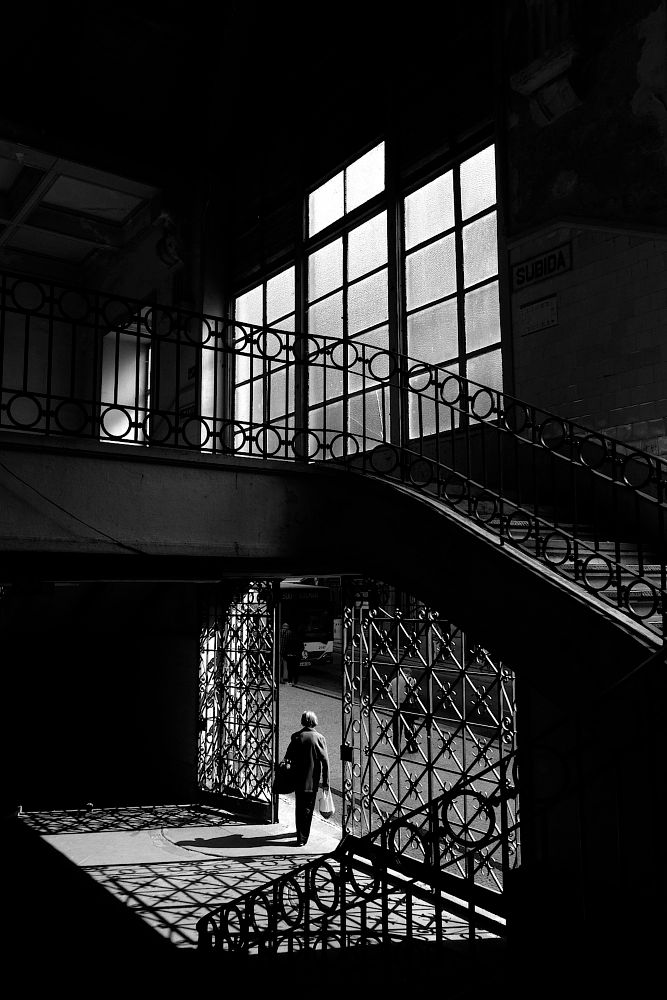 Photo in Street Photography #exit #door #stairs #light #black & white