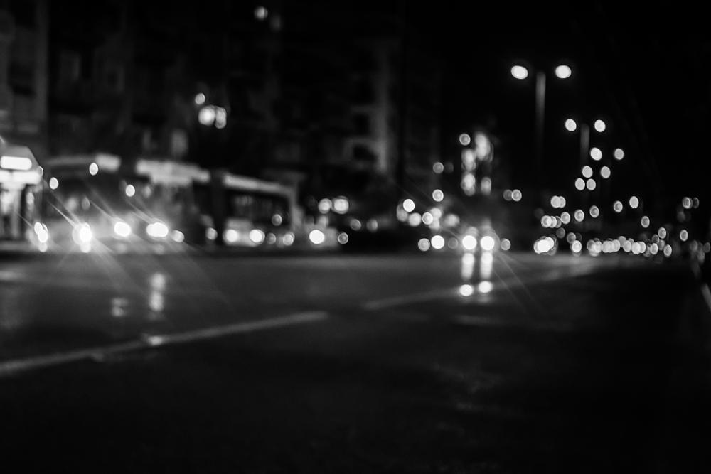 Photo in Black and White #night bokeh black and white