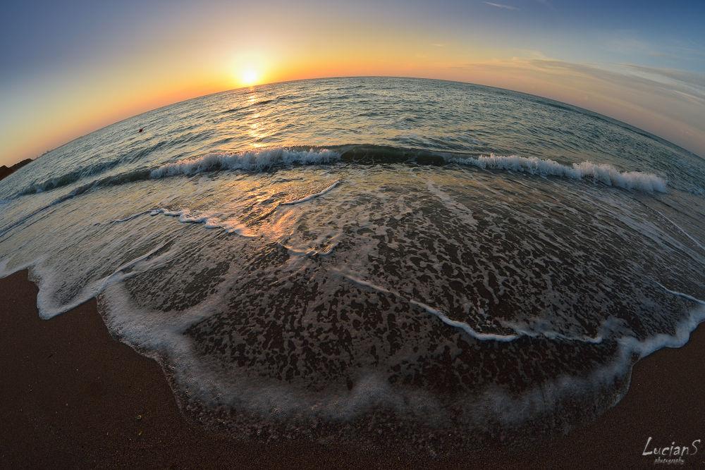 Photo in Sea and Sand #sea #summer #fisheye #sunrise #waves #sand