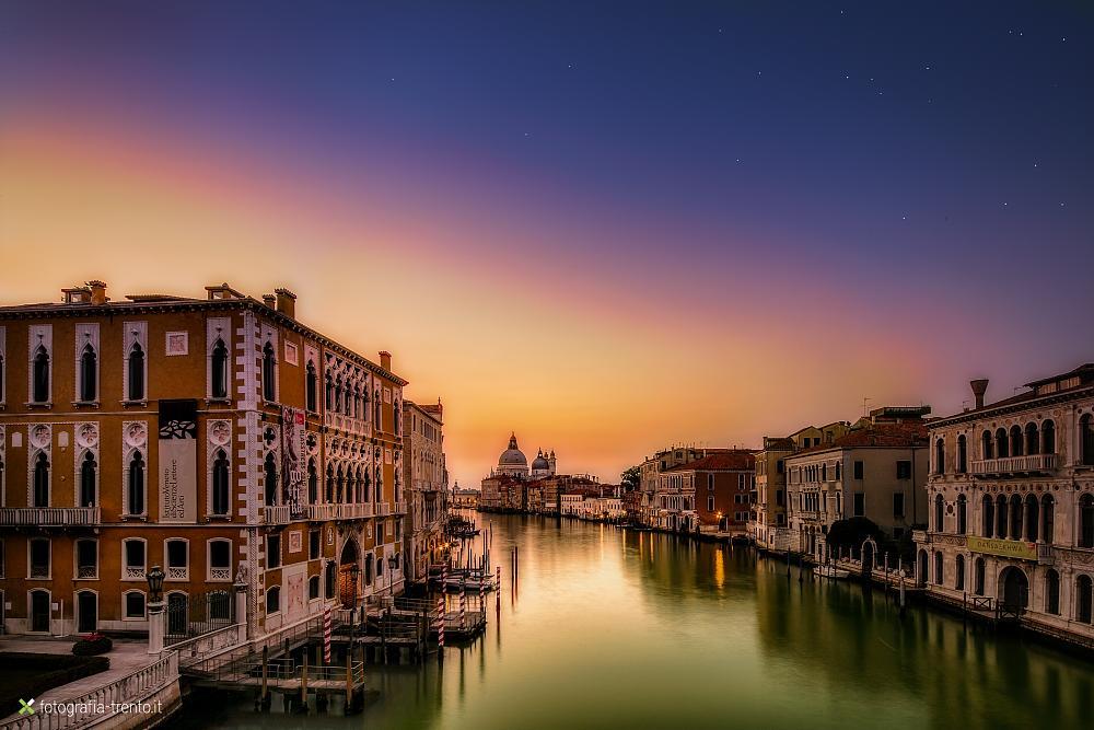 Photo in Cityscape #venice #dawn #canal #light #sunrise #venezia #veneto #italy #colors #blue #yellow #orange #night #grand canal #ve