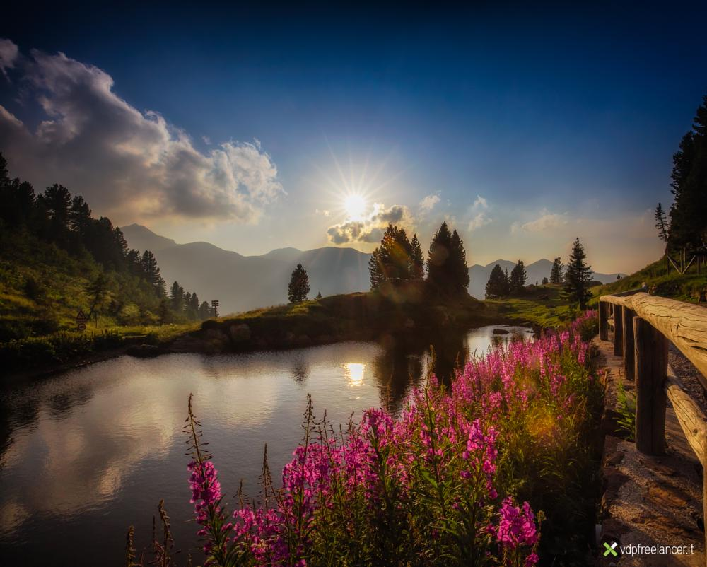 Photo in Landscape #pound #mountains #dolomites #sunset #lake #colors #sun #sky #light #trentino #italy
