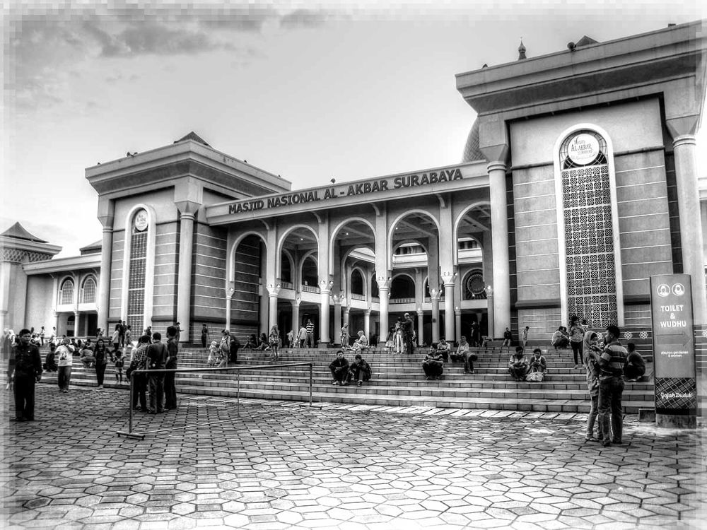 Photo in Architecture #masjid #surabaya #indonesia #architecture #black #white #black and white #art #maksiparanggi