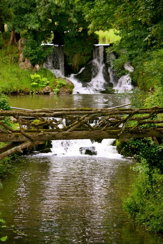 Photo in Landscape #bridge #waterfall #pond