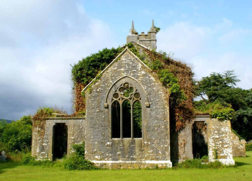 Photo in Landscape #church #vintage #ireland #stone #green #landscape