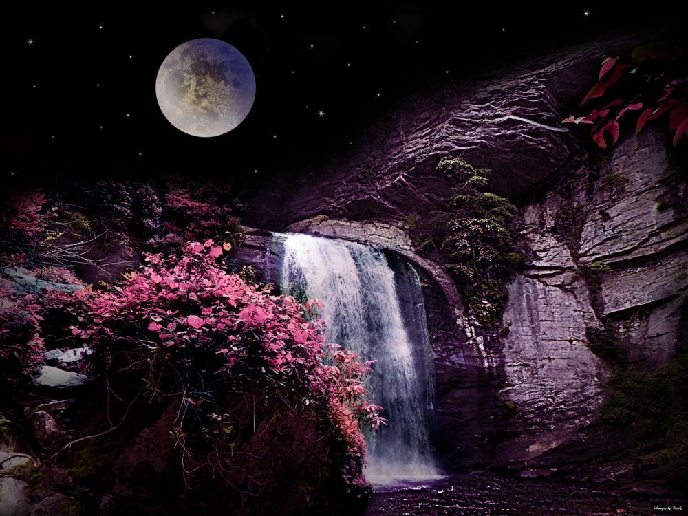 Photo in Landscape #waterfall #full moon #stars #purple