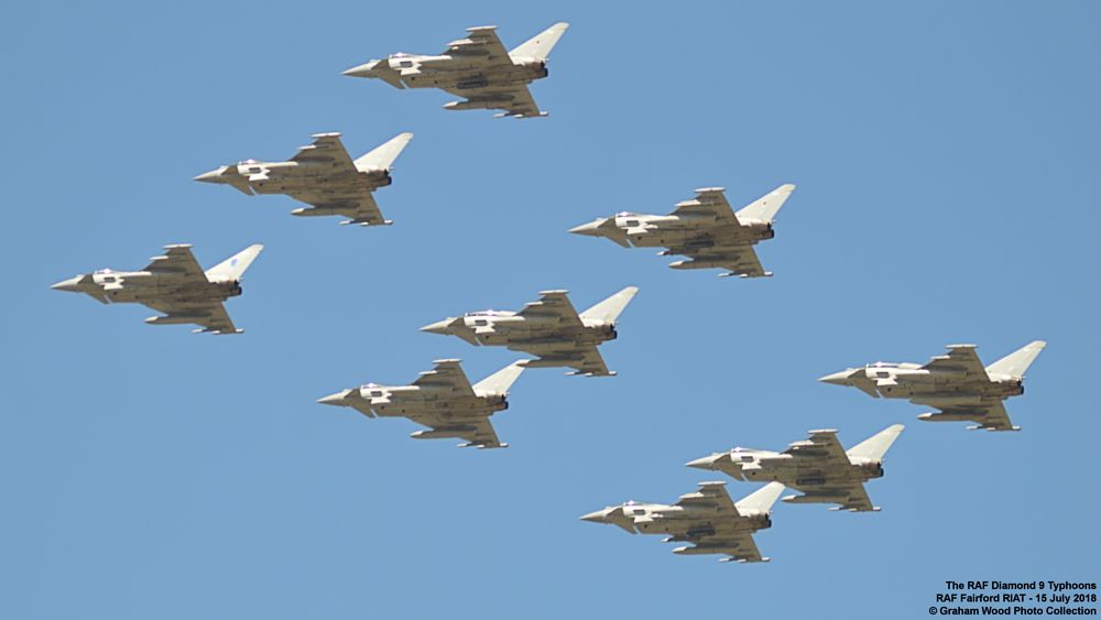 Photo in Vehicle #the raf diamond 9 typhoons #typhoons #jet #aircraft #riat
