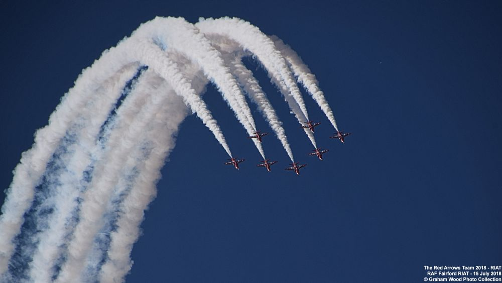 Photo in Vehicle #the red arrows team 2018 #the red arrows #jet #aircraft #riat #hawk