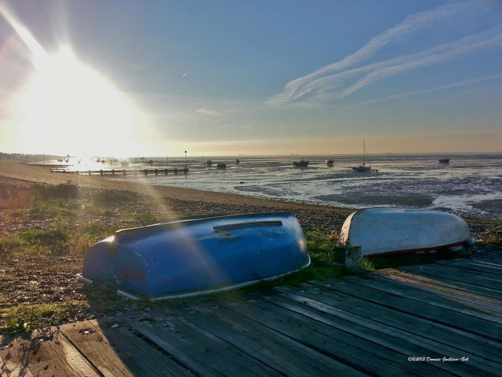 Photo in Landscape #seashore #seascape #sea #pebbles #boats #sun #blue #sky #scenery #scene #view #shadows #samsung #southend-on-sea #essex #uk