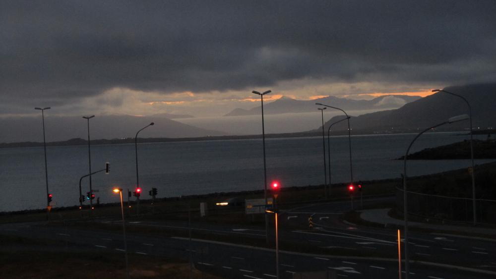 Photo in Landscape #floating mountain #mountains #sunset #dusk #harbor #iceland #reykjavik