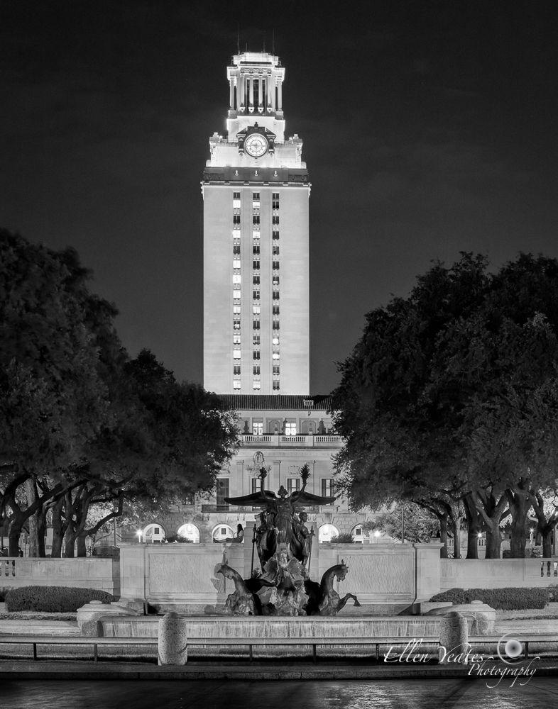 Photo in Architecture #austin #texas #usa #black and white #blackandwhite #bw #tower #campus #downtown #night #long exposure #university of texas #university #sky #tree #photography #ellen yeates #college #ut