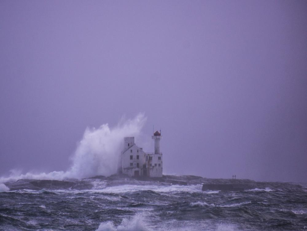 Photo in Landscape #averøy #lighthouse #hestskjære fyr #wave #sea #storm