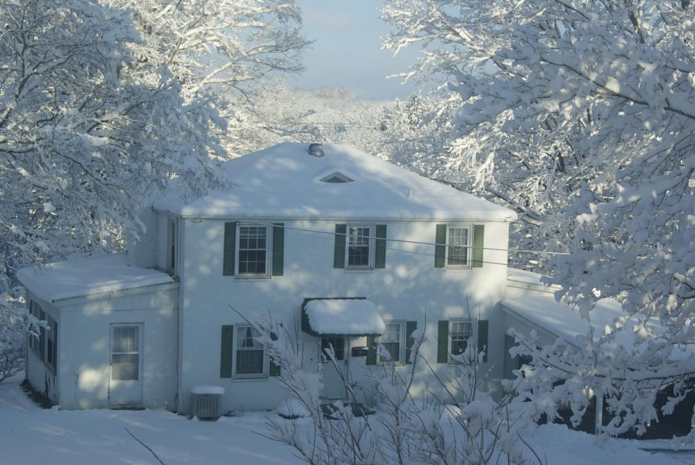 Photo in Abstract #snow #house #trees