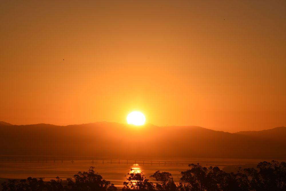 Photo in Nature #sunrise #san francisco bay #san mateo bridge