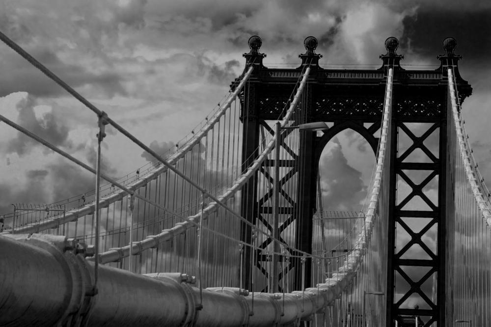 Photo in Fine Art #manhattan bridge #bridge #nyc #new york city #manhattan #black and white #yale gurney #grit #gritty #clouds #cloudy