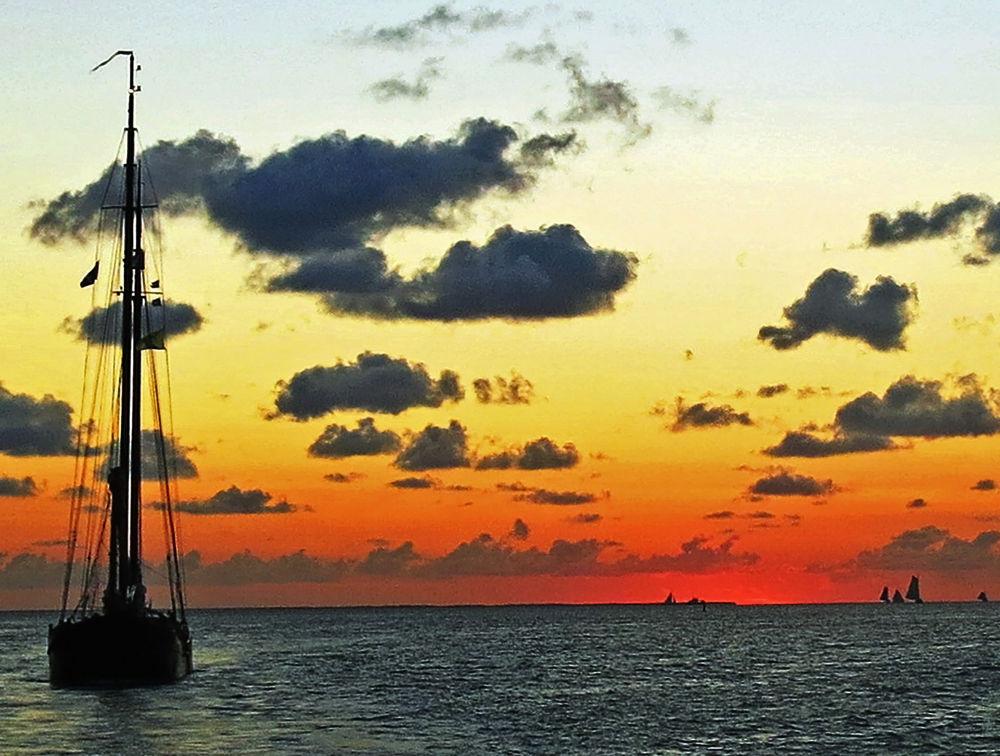 Photo in Nature #waddenzee #sea #boat #sunset #holland #netherlands