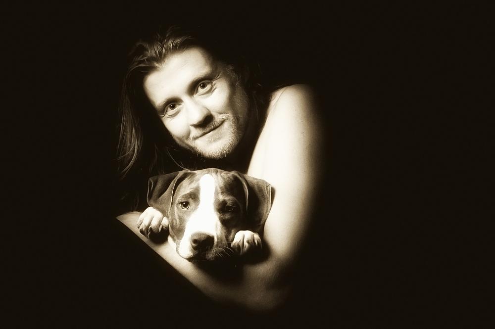 Photo in Portrait #abby #dog #man #wladimir neumann #selfi #portrait