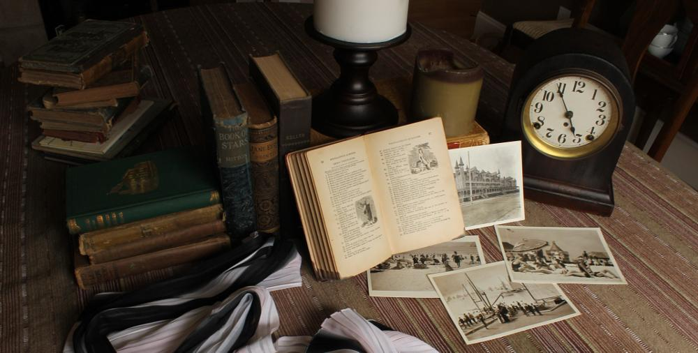 Photo in Random #books #antique #clock #postcards #scarf #oldsoul