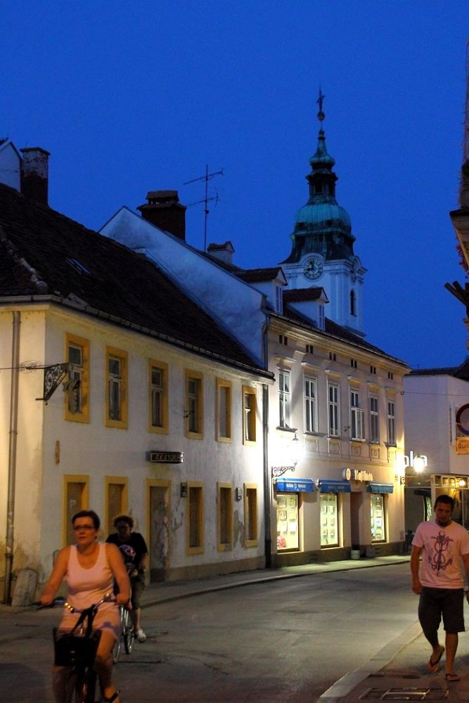 Photo in Street Photography #town #night #blue  hour #city #karlovac #canon #street #urban #down town