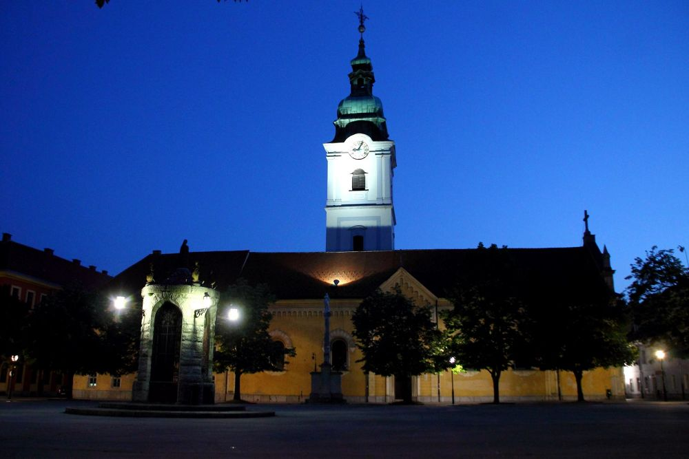 Photo in Cityscape #town #church #city #light #night #blue hour