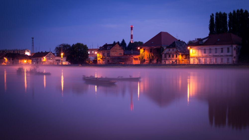 Photo in Urban #twilight #misty #fog #river #boat #wooden boat #kupa #karlovac #croatia #canon