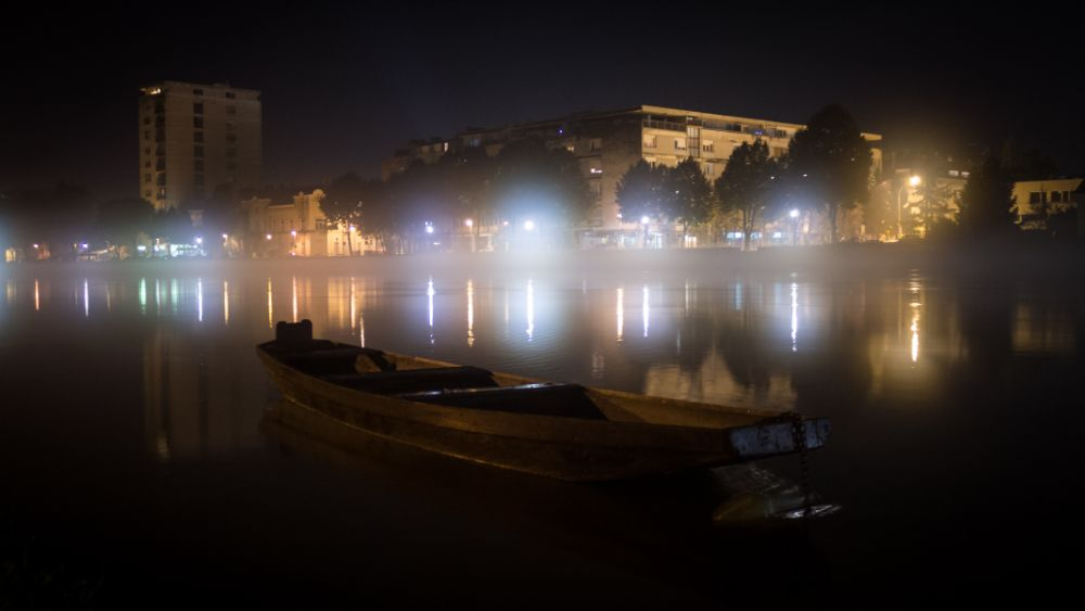 Photo in Urban #city #town #light #night #river #boat #wooden boat #karlovac #croatia #europe #canon #kupa