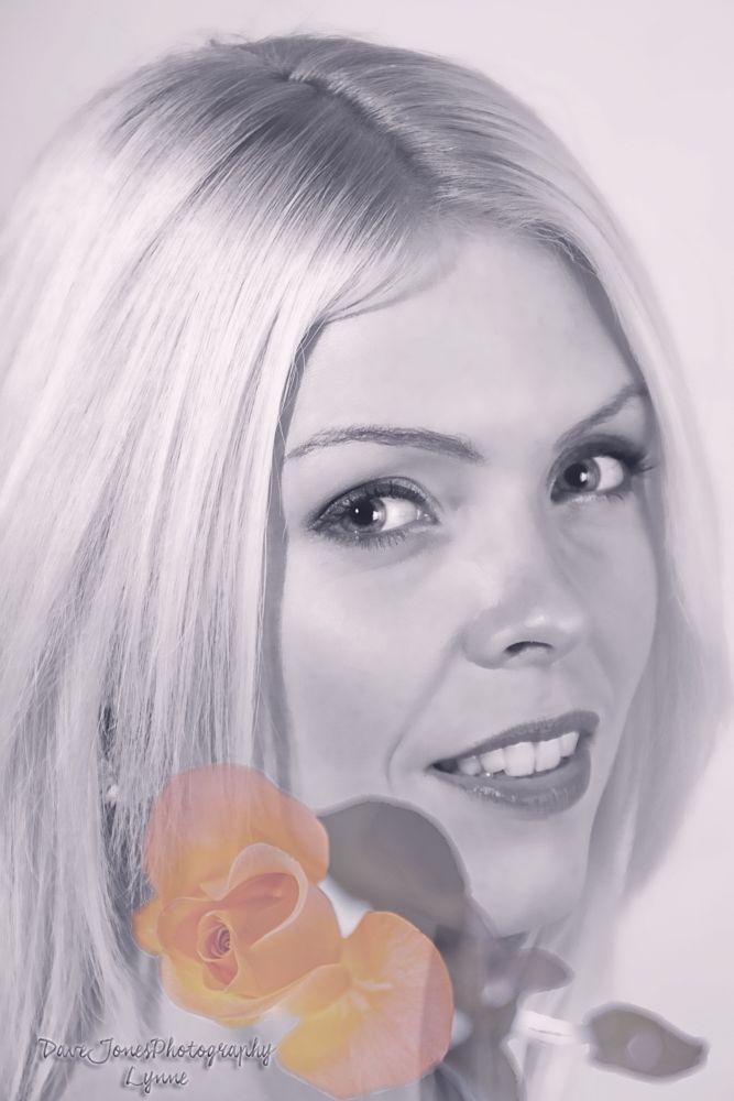 Photo in Portrait #rose #flower #portrait #beauty #women #face #b&w