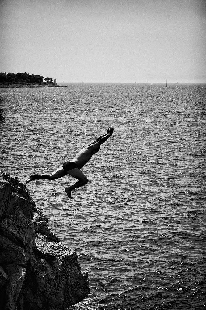 Photo in Black and White #bw #adriatic #sea #man #dynamic #jump #water #sky #horizon